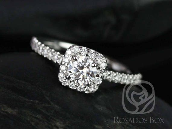 Rosados Box Ready to Ship Mikena 5mm 14kt ROSE Gold Round Forever One Moissanite Diamonds Halo Engagement Ring