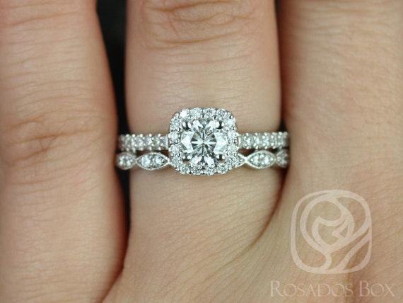 Rosados Box Mikena 5mm & Christie 14kt White Gold Round F1- Moissanite and Diamonds Cushion Halo Wedding Set