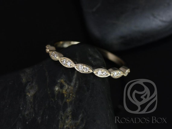 Diamonds Scalloped WITHOUT Milgrain Vintage Matching Band Christie/Katya/Sunny/Samantha HALFWAY Eternity Ring, 14kt Solid Gold,Rosados Box