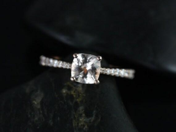 Rosados Box Taylor 6mm 14kt Rose Gold Cushion Morganite and Diamond Cathedral Engagement Ring