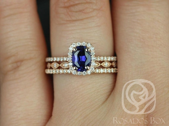 Rosados Box Romani 7x5mm & Ult Pte Leah 14kt Rose Gold Oval Blue Sapphire and Diamond Halo TRIO Wedding Set