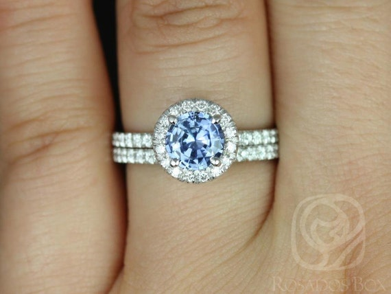 1.07ct Round Icy Cornflower Blue Sapphire Diamonds Micropave Halo Wedding Set Rings,14kt White Gold,Ready to Ship Callie 1.07cts,Rosados Box