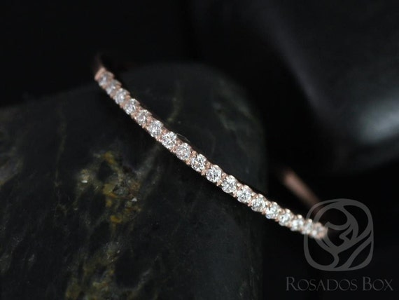 Thin Diamond Matching Band to 5mm Barra/5mm & 6mm Kitana HALFWAY Eternity Ring,14kt Solid Gold, Rosados Box