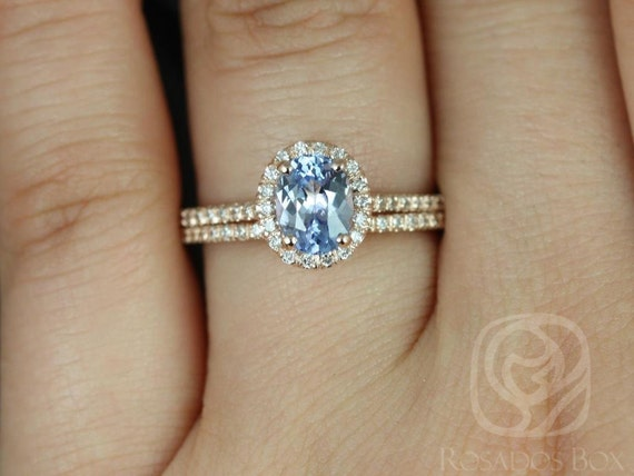 Oval Icy Blue Sapphire Diamonds Thin Halo Wedding Set Rings Rings, 14kt Solid Rose Gold, Ready to Ship Rebecca 1.07cts, Rosados Box