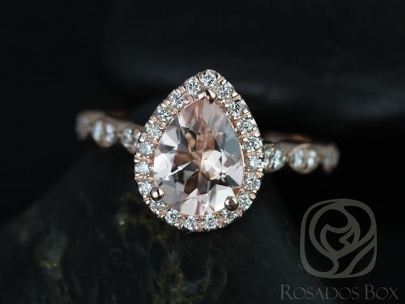 Rosados Box Sydney 9x7mm 14kt Rose Gold Pear Morganite and Diamonds Halo and Leaves WITH Milgrain Engagement Ring