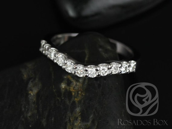 Rosados Box 14kt White Gold Matching Band to Trisha 7mm Diamonds HALFWAY Band