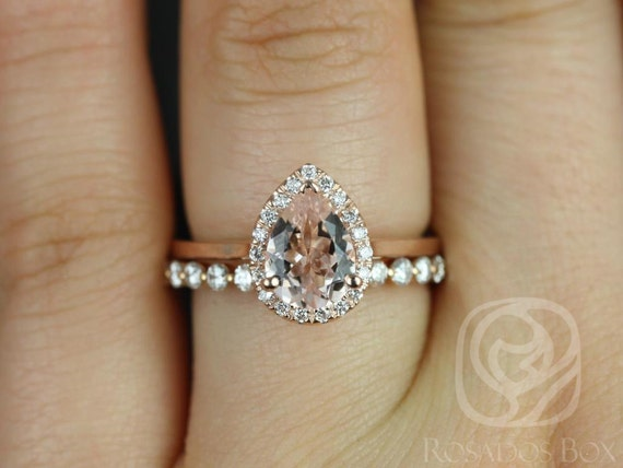 Rosados Box Julie 8x6mm & Petite Naomi 14kt Rose Gold Pear Morganite  Diamond Halo Wedding Set Rings