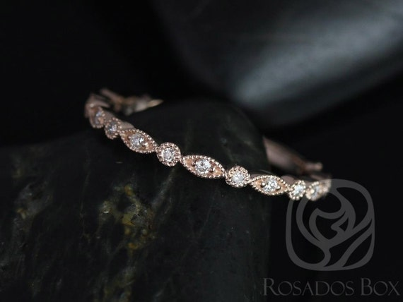Gwen/Ultra Petite Bead & Eye 14kt Rose Gold Dainty Diamond Vintage WITH Milgrain ALMOST Eternity Band Stack Ring,Rosados Box