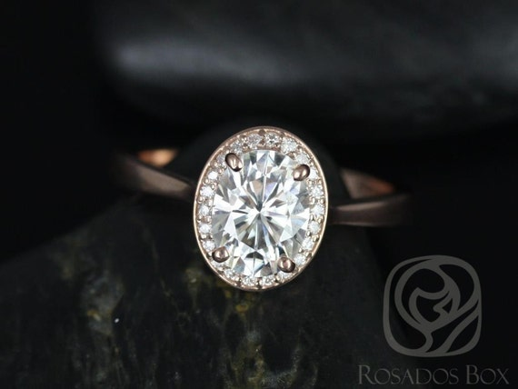 Rosados Box Swink 8x6mm 14kt Rose Gold Oval Forever One Moissanite Diamond  Pave Halo Engagement Ring