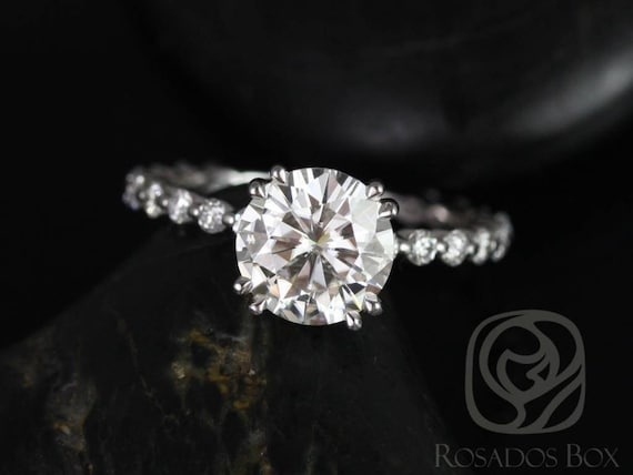 SALE Rosados Box Ready to Ship Naomi 8mm 14kt White Gold Round FB Moissanite and Diamonds Double Talon Engagement Ring