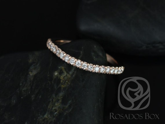 Thin Curved Diamond Matching Band to Avery 10x8mm HALFWAY Eternity,14kt Solid Rose Gold,Rosados Box