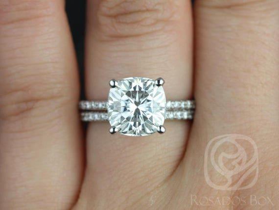 Rosados Box Ready to Ship Heidi 9mm 14kt White Gold Cushion Forever One Moissanite Diamond Pave Hidden Halo Basket Wedding Set Rings Rings