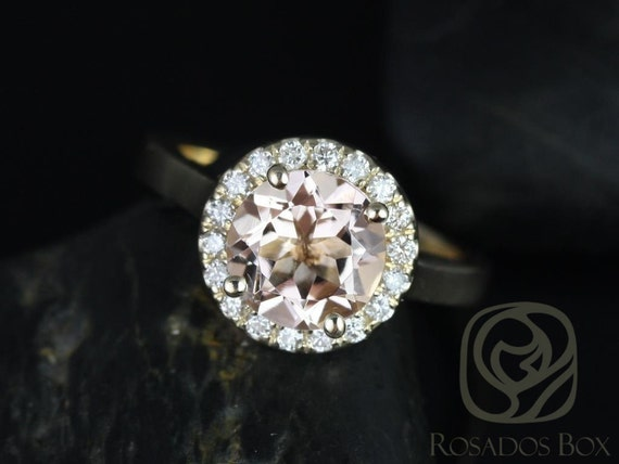 Rosados Box Ready to Ship Feema 8mm 14kt Yellow Gold Round Morganite and Diamonds Halo Engagement Ring