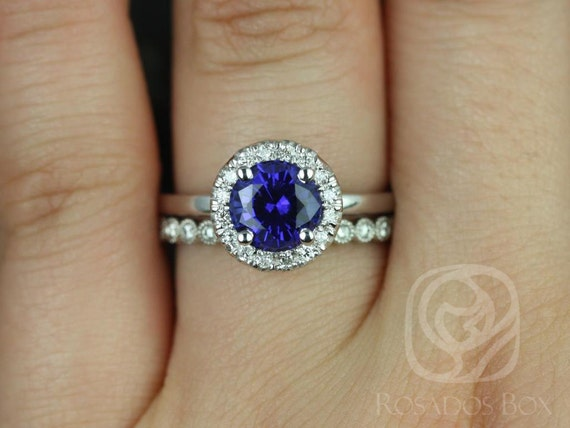 Rosados Box Katie 7mm & Petite Bubbles 14kt White Gold Round Blue Sapphire Diamond Halo Wedding Set Rings