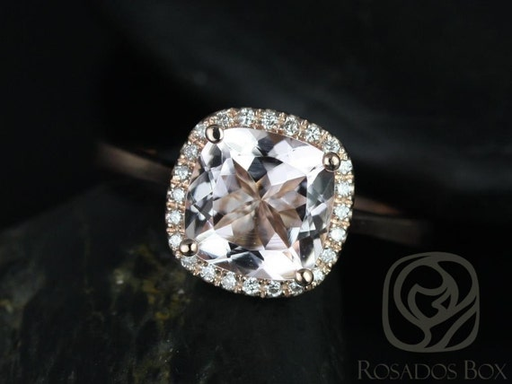 Roxie 8mm 14kt Rose Gold Morganite Diamonds Dainty Micropave Cushion Halo Engagement Ring,Rosados Box