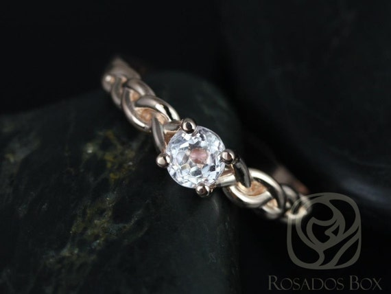 Rosados Box Prudence 5mm 14kt Rose Gold Round Kunzite Braided Engagement Ring