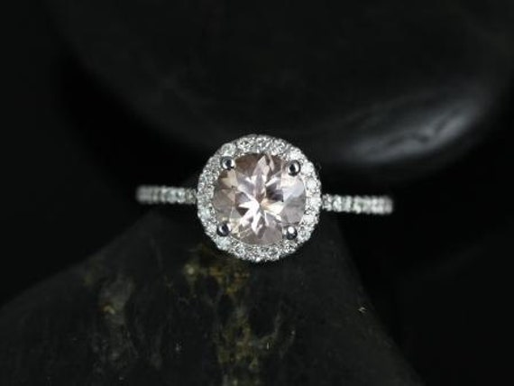 Ready to Ship 14kt White Gold Kubian 7mm Round Morganite Diamonds Micro Pave Petite Halo Engagement Ring, Rosados Box