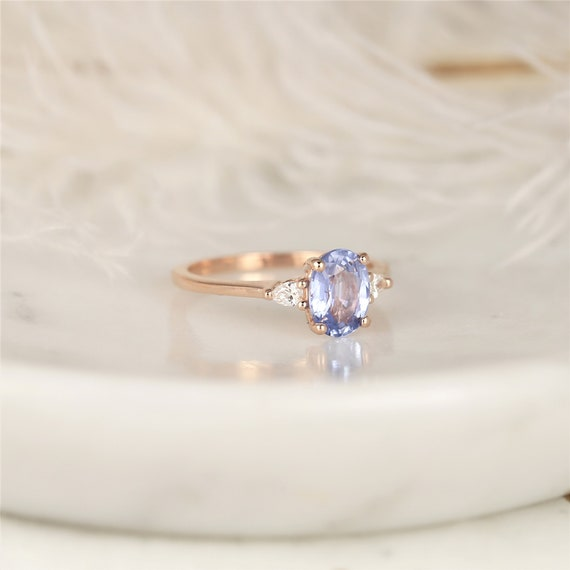 1.43cts Ready to Ship Petite Emery 14kt Rose Gold Cornflower Lavender Sapphire Diamond Pear 3 Stone Oval Engagement Ring,Rosados Box