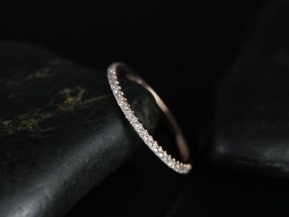 Dainty Thin Micro Pave Diamonds Matching Band Kubian 6mm HALFWAY Eternity Ring,14kt Solid Rose Gold,Rosados Box