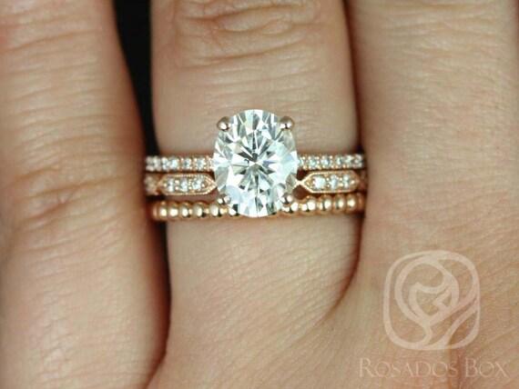 Rosados Box Hillary 9x7mm Stella & Buddha Beads 14kt Rose Gold Oval Forever One Moissanite Diamond Basket TRIO Wedding Set Rings