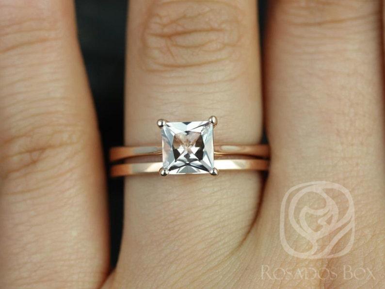 062347bb9a3c4 Rosados Box Gallina 6mm & Plain Barra 14kt Rose Gold Princess Morganite  Wedding Set Rings