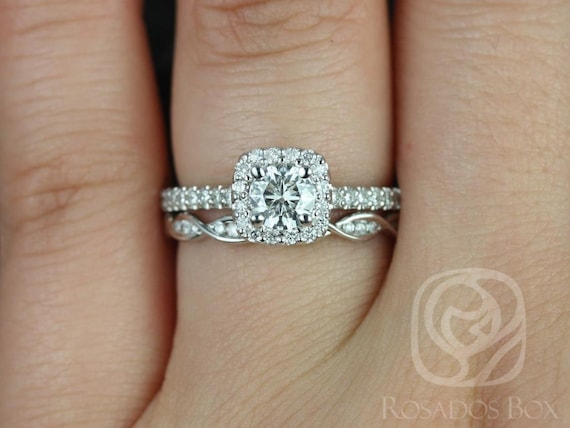 Rosados Box Mikena 5mm & Ember 14kt White Gold Round F1- Moissanite and Diamonds Cushion Halo Wedding Set