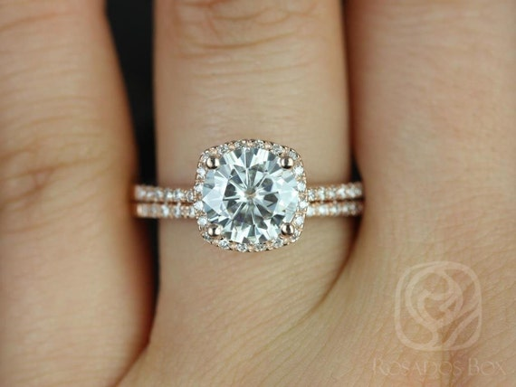 Rosados Box Barra 8mm 14kt Rose Gold Round Forever One Moissanite Diamonds Thin Cushion Halo Diamond Wedding Set Rings