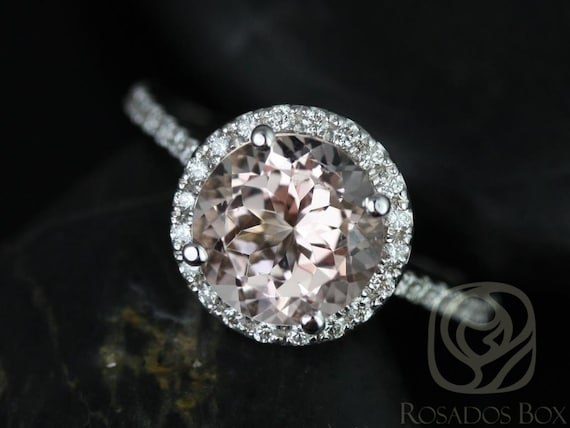 8mm Round Morganite Diamonds Thin Dainty Pave Halo Engagement Ring,14kt White Gold,Kubian 8mm ,Rosados Box