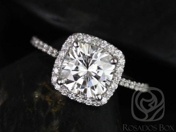 SALE Rosados Box Ready to Ship Catalina 7.5mm 14kt White Gold Cushion FB Moissanite Diamond Dainty Pave Cushion Halo Engagement Ring