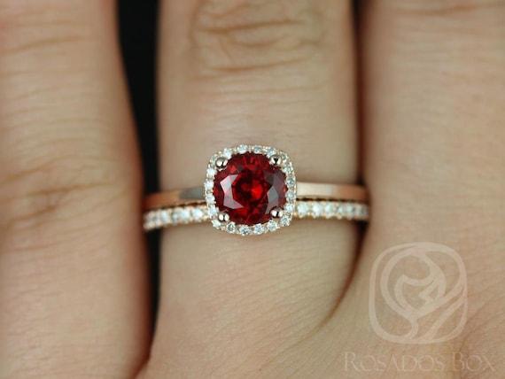 Ruby Diamonds Cushion Halo Wedding Set Rings Rings , 14kt Solid Rose Gold , Bella 6mm & Barra Dia, Rosados Box