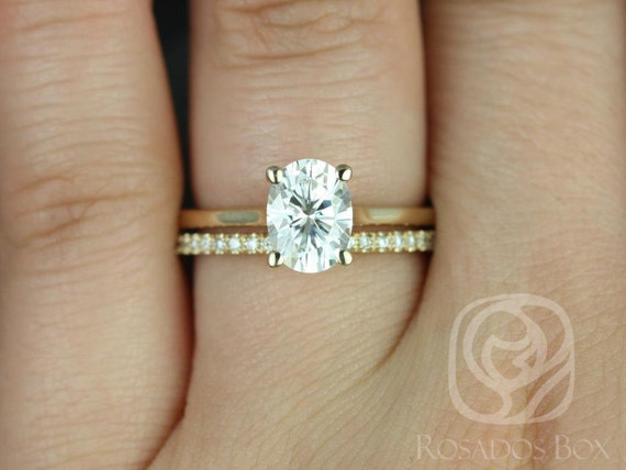 Rosados Box Skinny Lois 8x6mm & Romani 14kt Yellow Gold Oval Forever One Moissanite and Diamond Wedding Set Rings