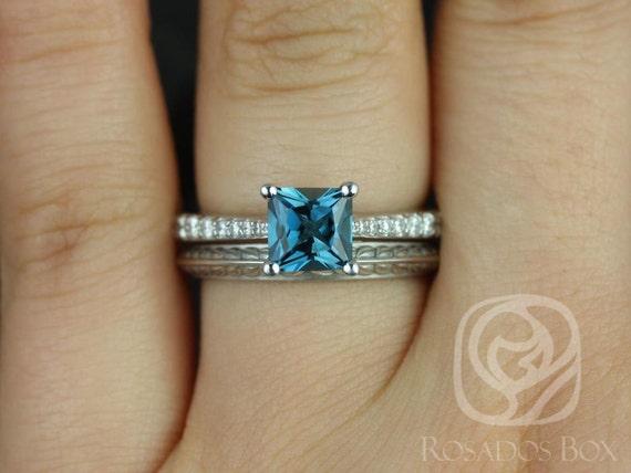 Rosados Box Taylor 6mm & Gilda 14kt White Gold Princess London Topaz and Diamond Cathedral Wedding Set Rings