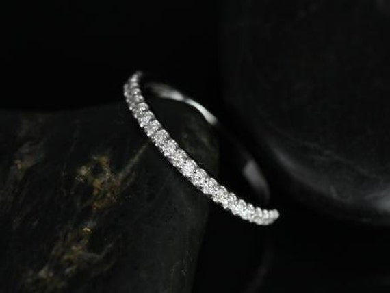 Rosados Box 14kt White Gold Matching Band to Mikena Diamond HALFWAY Eternity Band