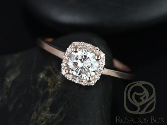 Forever One Moissanite Diamonds Cushion Halo Engagement Ring . 14kt Solid Gold .  Bella 6mm . Rosados Box