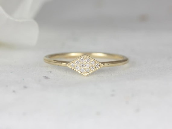 Stormy 14kt Yellow Gold Petite Marquise Diamonds Micro Pave Dainty Ring,Anniversary Band,Rosados Box