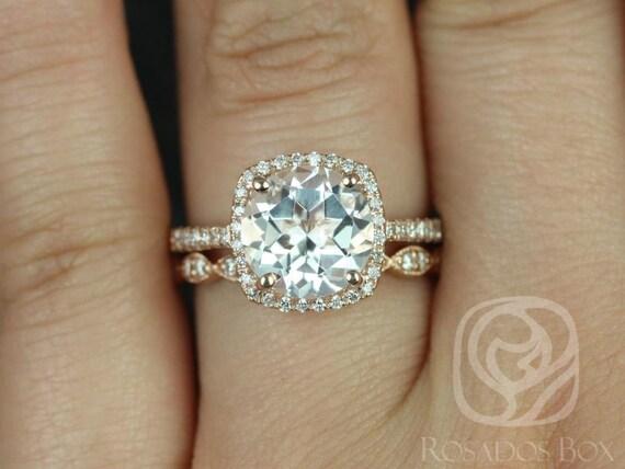 Rosados Box Barra 9mm & Christie 14kt Rose Gold Round White Topaz Diamond Cushion Halo Wedding Set Rings
