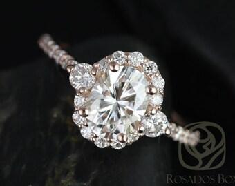Rosados Box Bridgette 8x6mm 14kt Rose Gold Oval F1- Moissanite and Diamonds Halo Engagement Ring