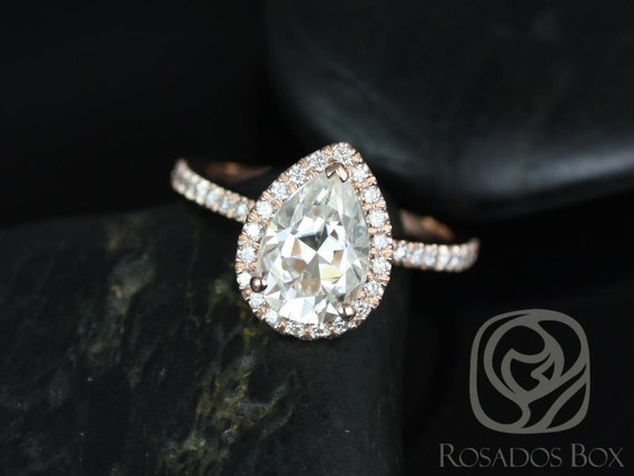 2ct Toni 10x7mm 14kt Rose Gold Forever One Moissanite Diamonds Thin Dainty Pave Non-Cathedral Pear Halo Engagement Ring,Rosados Box
