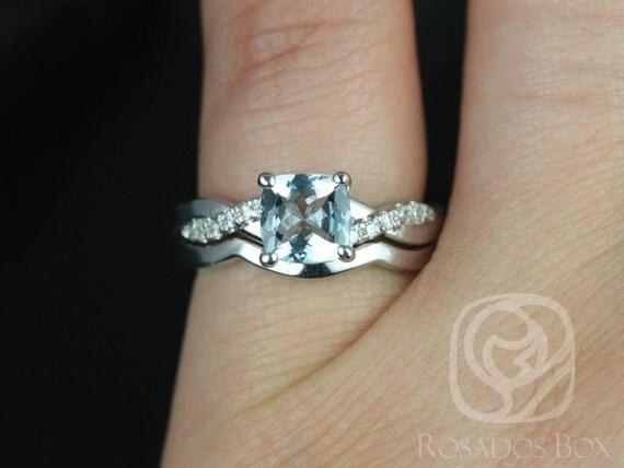 6mm Cushion Aquamarine Diamond Twisted Vine Wedding Set Rings Rings,14kt Solid White Gold,Tressa 6mm & PLAIN Band,Rosados Box