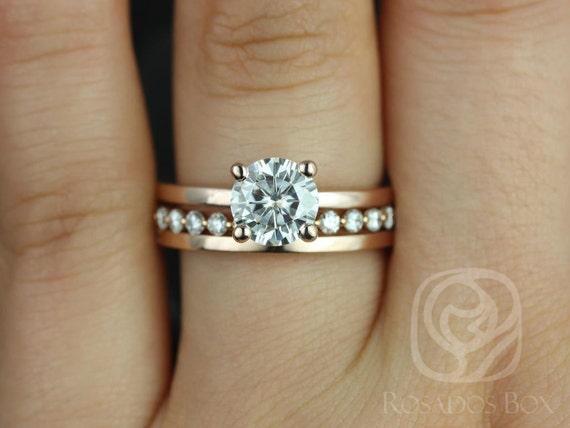 Rosados Box Ella 7mm, Petite B&B, Plain Ella 14kt Round Forever One Moissanite Diamond TRIO Wedding Set Rings