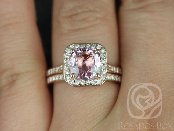 2.51cts Ready to Ship Hollie 14kt Rose Gold Peach Raspberry Sapphire Diamond Art Deco Pave Cushion Halo Wedding Set Rings,Rosados Box