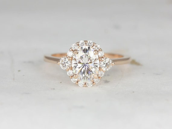 Ready to Ship Britney 8x6mm 1.50cts 14kt Rose Gold Forever One Moissanite Diamonds 3 Stone Unique Oval Halo Engagement Ring,Rosados Box