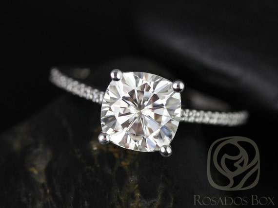 Rosados Box Marcelle 8mm 14kt White Gold Cushion Forever One Moissanite Diamonds Cathedral Engagement Ring
