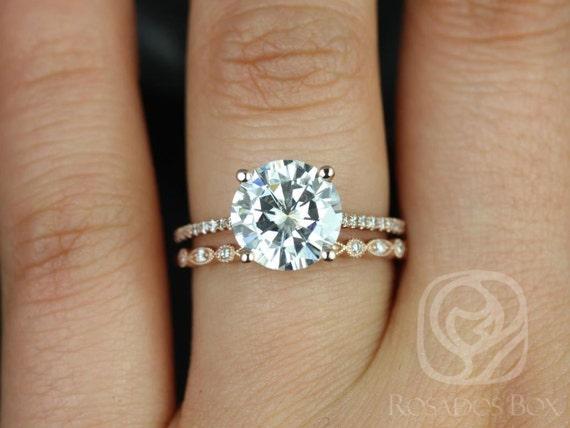 2.70ct Forever One Moissanite Diamonds Thin Art Deco Wedding Set Rings,14 Solid Rose Gold,Eloise 9mm & Gwen,Rosados Box