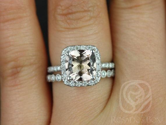 Rosados Box Pernella 8mm & Petite Bubbles 14kt White Gold Cushion Morganite and Diamonds Halo Wedding Set