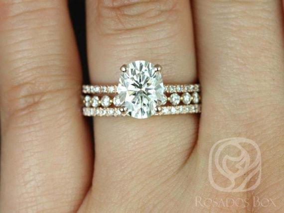Rosados Box Hillary 9x7mm & Naomi 14kt Rose Gold Oval Forever One Moissanite Diamond Basket TRIO Wedding Set Rings