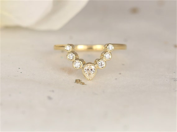 Queenie 14kt Solid Gold Diamond Unique Minimalist Tiara Crown Curved Nesting Ring,Rosados Box