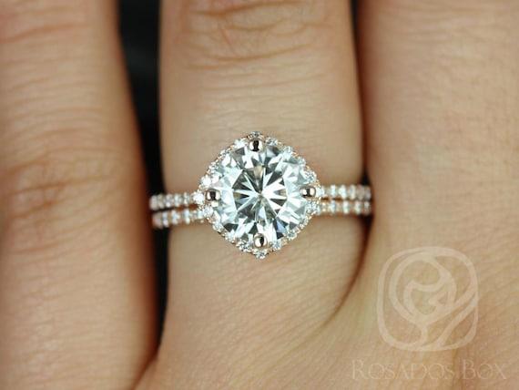 Rosados Box Kitana 8mm Size 14kt Rose Gold F1- Moissanite and Diamonds Cushion Halo Wedding Set