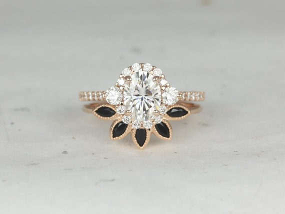 Rosados Box Bridgette 8x6mm & Petunia 14kt Rose Gold Oval Forever One Moissanite Diamonds Onyx Halo Wedding Set