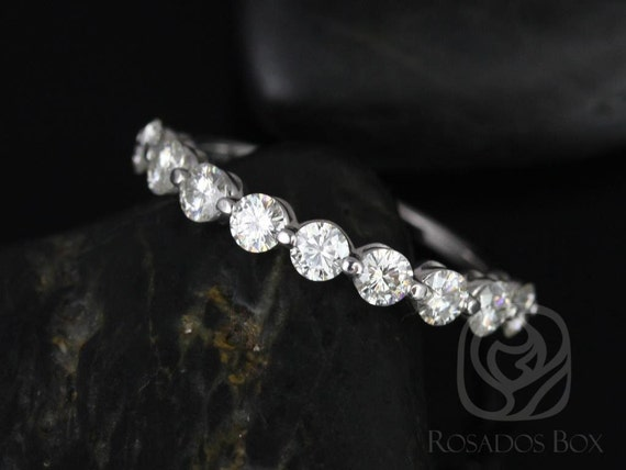 DIAMOND FREE Haylie 3mm 14kt White Gold Scooped & Scalloped Forever One Moissanite HALFWAY Eternity Band Ring,Rosados Box